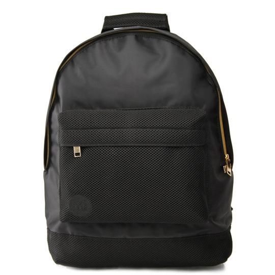 Mi Pac Backpack Front Satin Mesh Black @ Men's Bag Society