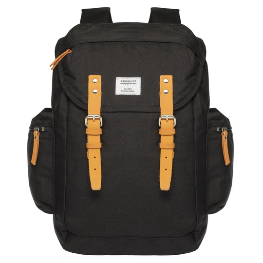 Sandqvist Lars-goran Backpack-blackwblack-front-highres @ Men's Bag Society